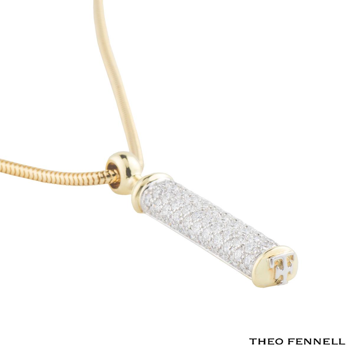 Theo Fennell Yellow Gold Diamond Shaft Pendant